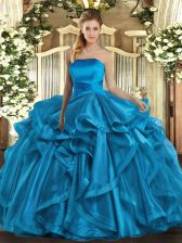 On Sale Sleeveless Floor Length Ruffles Lace Up 15th Birthday Dress with Baby Blue