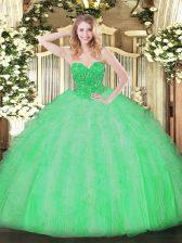 Amazing Apple Green Lace Up Sweetheart Ruffles 15th Birthday Dress Organza Sleeveless