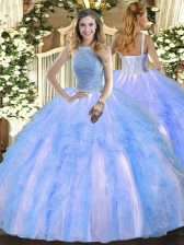 Edgy Baby Blue Ball Gowns Beading and Ruffles 15th Birthday Dress Lace Up Tulle Sleeveless Floor Length