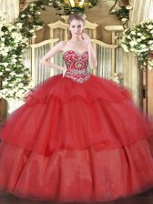 Sweetheart Sleeveless 15th Birthday Dress Floor Length Beading and Ruffled Layers Red Organza