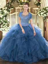 Delicate Beading and Ruffled Layers 15 Quinceanera Dress Teal Clasp Handle Sleeveless Floor Length