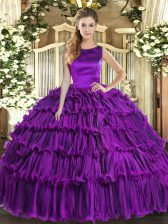 Traditional Eggplant Purple Lace Up Scoop Ruffled Layers 15th Birthday Dress Organza Sleeveless