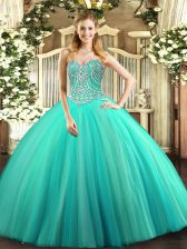 Floor Length Lace Up Quinceanera Gown Aqua Blue for Military Ball and Sweet 16 and Quinceanera with Beading