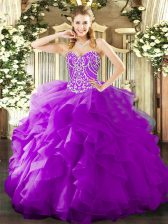 High End Purple Lace Up Sweetheart Beading and Ruffles Quinceanera Dresses Organza Sleeveless