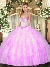Modern Lilac Sweetheart Neckline Beading and Ruffles 15 Quinceanera Dress Sleeveless Lace Up