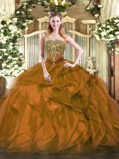 Affordable Brown Quinceanera Gown Military Ball and Sweet 16 and Quinceanera with Beading and Ruffles Strapless Sleeveless Lace Up