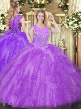 Lavender Ball Gowns Scoop Sleeveless Tulle Floor Length Zipper Beading and Ruffles Sweet 16 Dresses