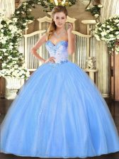 Discount Baby Blue Sleeveless Tulle Lace Up Ball Gown Prom Dress for Military Ball and Sweet 16 and Quinceanera