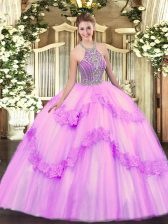 Ball Gowns Quinceanera Gowns Lilac Halter Top Tulle Sleeveless Floor Length Lace Up
