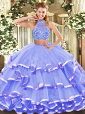 Floor Length Two Pieces Sleeveless Lavender Quince Ball Gowns Criss Cross