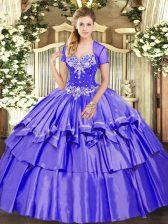 Graceful Purple Sleeveless Beading and Ruffled Layers Floor Length Sweet 16 Dresses