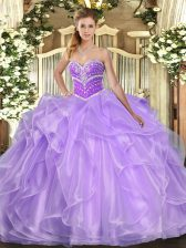 Nice Lavender Organza Lace Up Sweetheart Sleeveless Floor Length Quinceanera Dresses Beading and Ruffles