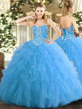 Glamorous Tulle Sweetheart Sleeveless Lace Up Beading and Ruffles Vestidos de Quinceanera in Aqua Blue