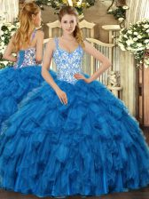 Straps Sleeveless Lace Up Quinceanera Dress Blue Organza