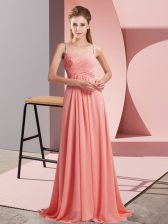 Fine Watermelon Red Prom Dresses Prom and Party with Ruching Spaghetti Straps Sleeveless Sweep Train Backless