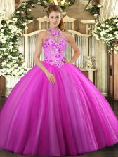 Sumptuous Fuchsia Ball Gowns Tulle Halter Top Sleeveless Embroidery Floor Length Lace Up 15 Quinceanera Dress