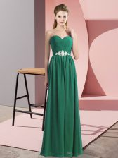 Dark Green Sleeveless Chiffon Lace Up Prom Dresses for Prom and Party