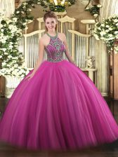 Extravagant Hot Pink Ball Gowns Beading Sweet 16 Quinceanera Dress Lace Up Tulle Sleeveless Floor Length