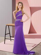 Customized Sweep Train Column/Sheath Prom Gown Purple One Shoulder Chiffon Sleeveless Floor Length Lace Up