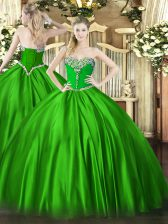 Sweetheart Sleeveless Satin 15 Quinceanera Dress Beading Lace Up
