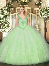 Yellow Green Lace Up Vestidos de Quinceanera Beading and Ruffles Sleeveless Floor Length