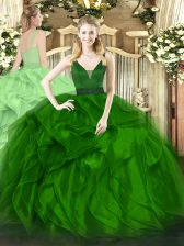 Green Sleeveless Organza Zipper Sweet 16 Dress for Military Ball and Sweet 16 and Quinceanera