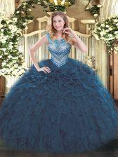 Beading and Ruffles Vestidos de Quinceanera Navy Blue Lace Up Sleeveless Floor Length