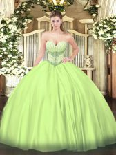 Custom Designed Yellow Green Ball Gowns Satin Sweetheart Sleeveless Beading Floor Length Lace Up 15 Quinceanera Dress