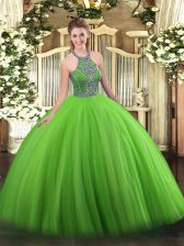 High Quality Floor Length Green 15th Birthday Dress Halter Top Sleeveless Lace Up