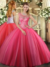 Decent Coral Red Scoop Neckline Beading 15 Quinceanera Dress Sleeveless Lace Up