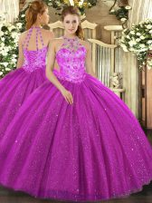 Amazing Fuchsia Sleeveless Beading and Embroidery and Sequins Floor Length 15 Quinceanera Dress