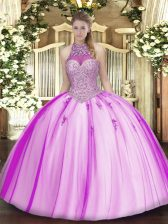 Tulle Halter Top Sleeveless Lace Up Beading and Appliques Quinceanera Dresses in Fuchsia