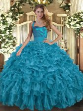 Adorable Teal Sleeveless Ruffles Floor Length Quinceanera Dresses