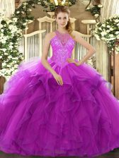 Dramatic Fuchsia Ball Gowns High-neck Sleeveless Organza Floor Length Lace Up Beading and Ruffles Quinceanera Gown