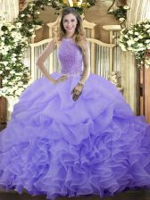 Discount Lavender Ball Gown Prom Dress Military Ball and Sweet 16 and Quinceanera with Beading and Ruffles and Pick Ups High-neck Sleeveless Lace Up