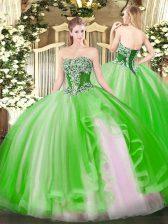 Strapless Sleeveless Sweet 16 Dress Floor Length Beading and Ruffles Tulle