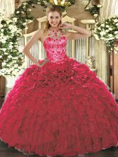 Beading and Ruffles 15 Quinceanera Dress Red Lace Up Sleeveless Floor Length