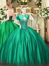 Sweetheart Sleeveless Lace Up Quinceanera Dresses Turquoise Satin