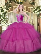 Fuchsia Tulle Lace Up Sweet 16 Quinceanera Dress Sleeveless Floor Length Beading and Ruffled Layers