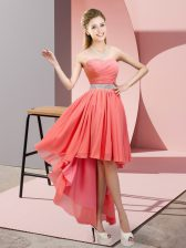 Sexy A-line Watermelon Red Sweetheart Chiffon Sleeveless High Low Lace Up