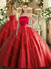 Red Quinceanera Dresses Military Ball and Sweet 16 and Quinceanera with Appliques Strapless Sleeveless Lace Up