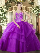 Nice Purple Lace Up 15 Quinceanera Dress Beading and Ruffled Layers Sleeveless Floor Length