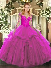 Exceptional Floor Length Lace Up Quince Ball Gowns Fuchsia for Military Ball and Sweet 16 and Quinceanera with Lace and Ruffles