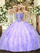 Graceful Ball Gowns 15th Birthday Dress Lavender Sweetheart Tulle Sleeveless Asymmetrical Lace Up