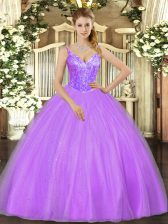 Attractive Lavender V-neck Lace Up Beading Quinceanera Dress Sleeveless