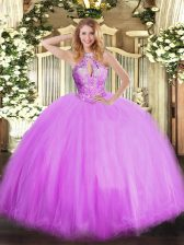 Tulle Sleeveless Floor Length Ball Gown Prom Dress and Beading