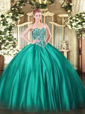 Smart Floor Length Turquoise Sweet 16 Quinceanera Dress Sweetheart Sleeveless Lace Up