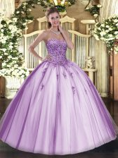 Latest Sleeveless Tulle Floor Length Lace Up 15th Birthday Dress in Lavender with Beading