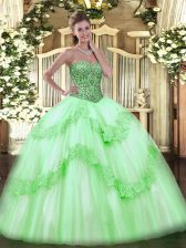 Fashion Tulle Sweetheart Sleeveless Lace Up Beading and Appliques and Ruffles Vestidos de Quinceanera in