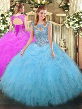 Floor Length Aqua Blue Sweet 16 Quinceanera Dress Scoop Sleeveless Lace Up